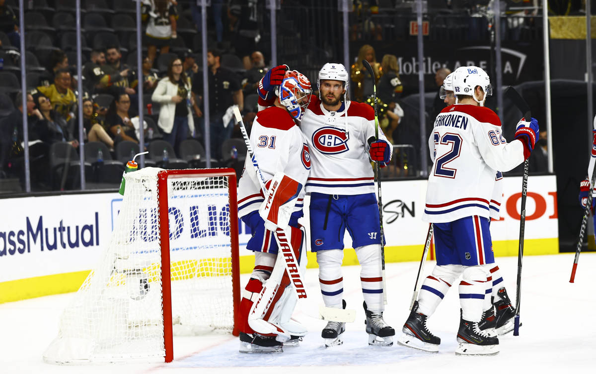 Montreal Canadiens goaltender Carey Price (31) celebrates the team's 4-1 victory over th ...