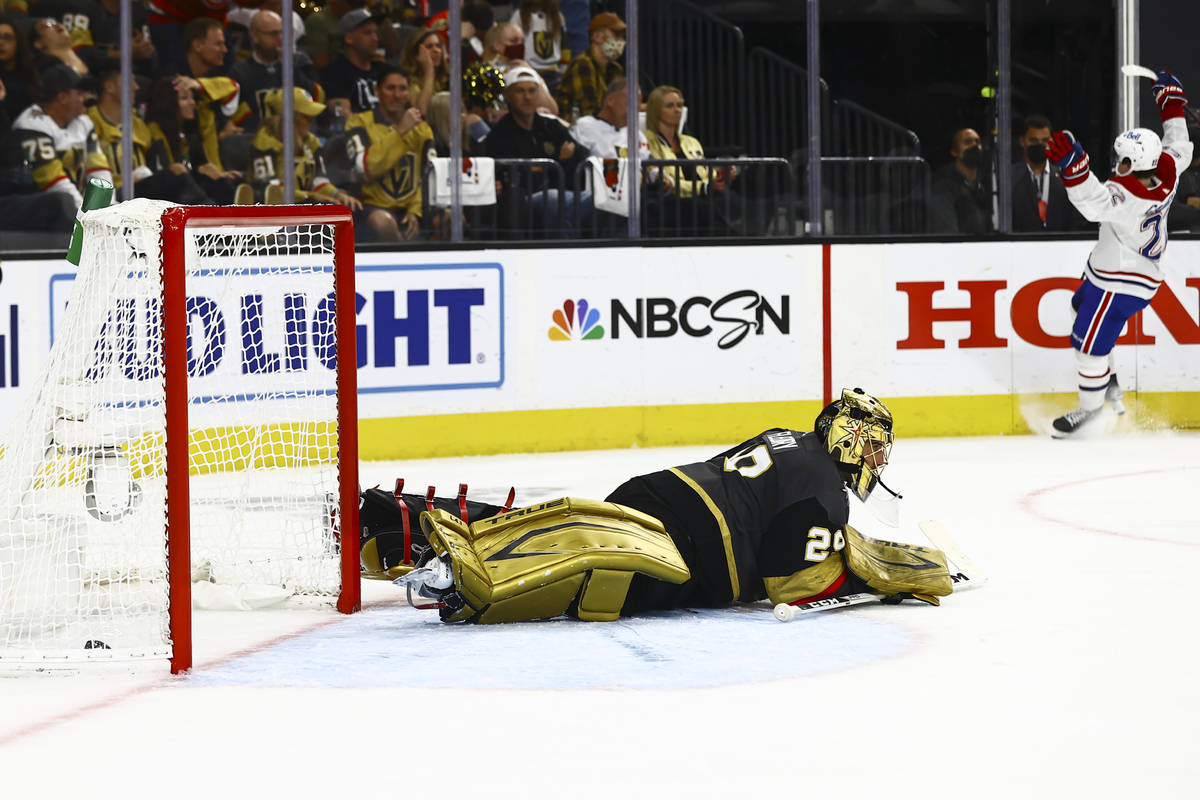 Golden Knights goaltender Marc-Andre Fleury (29) looks on after giving up the second goal of th ...