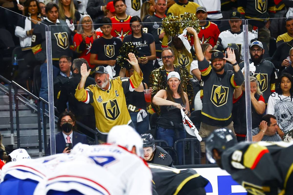 Golden Knights fans cheer during the third period of Game 5 of an NHL hockey Stanley Cup semifi ...