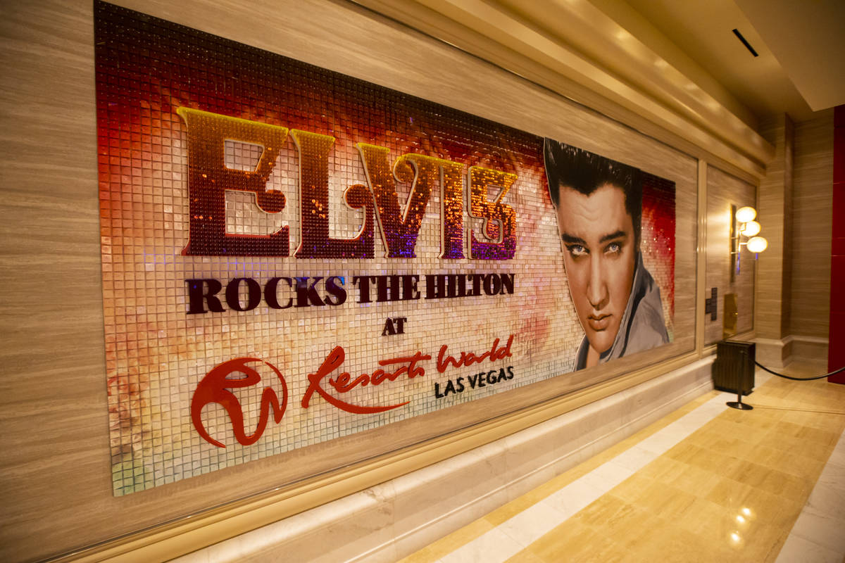 A depiction of Elvis is seen during a tour of Resorts World ahead of it's opening in Las Vegas ...