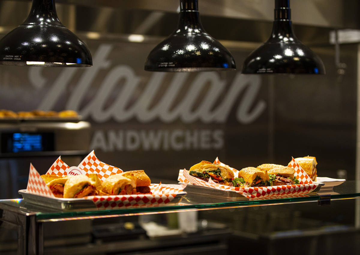 Sandwich offerings from Mozz, by local chef James Trees, are seen during a tour of Resorts Worl ...