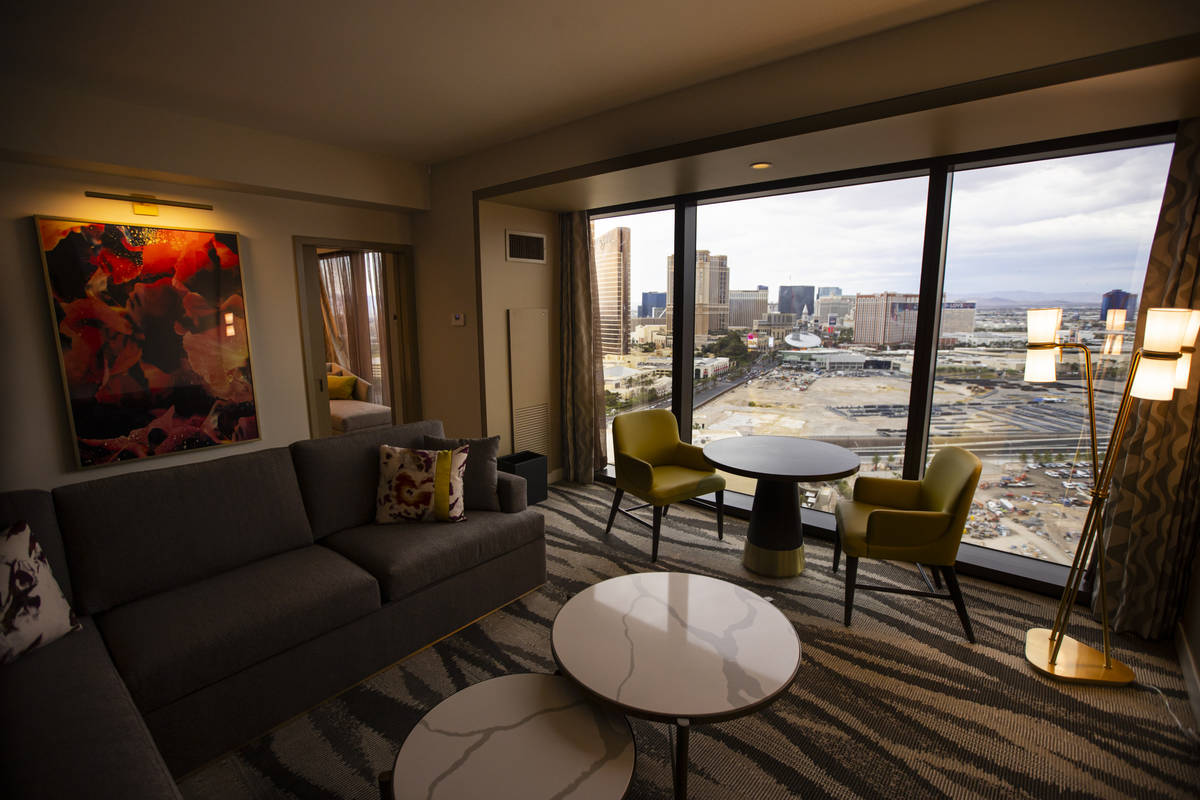 A Conrad suite is seen during a tour of Resorts World ahead of its opening in Las Vegas on Wedn ...