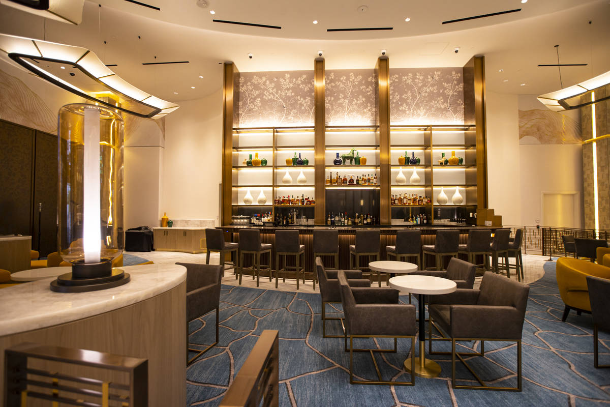 A bar in the Conrad hotel lobby is seen during a tour of Resorts World ahead of its opening in ...
