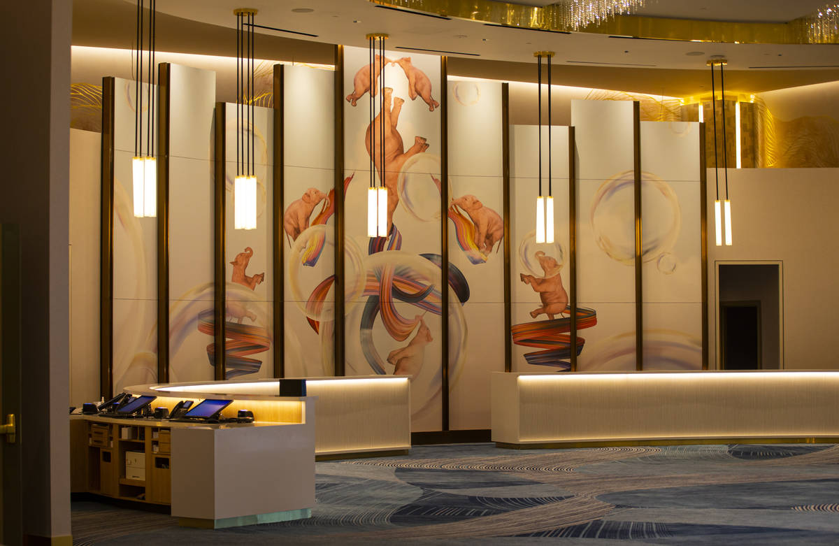 The Conrad hotel lobby is seen during a tour of Resorts World ahead of its opening in Las Vegas ...