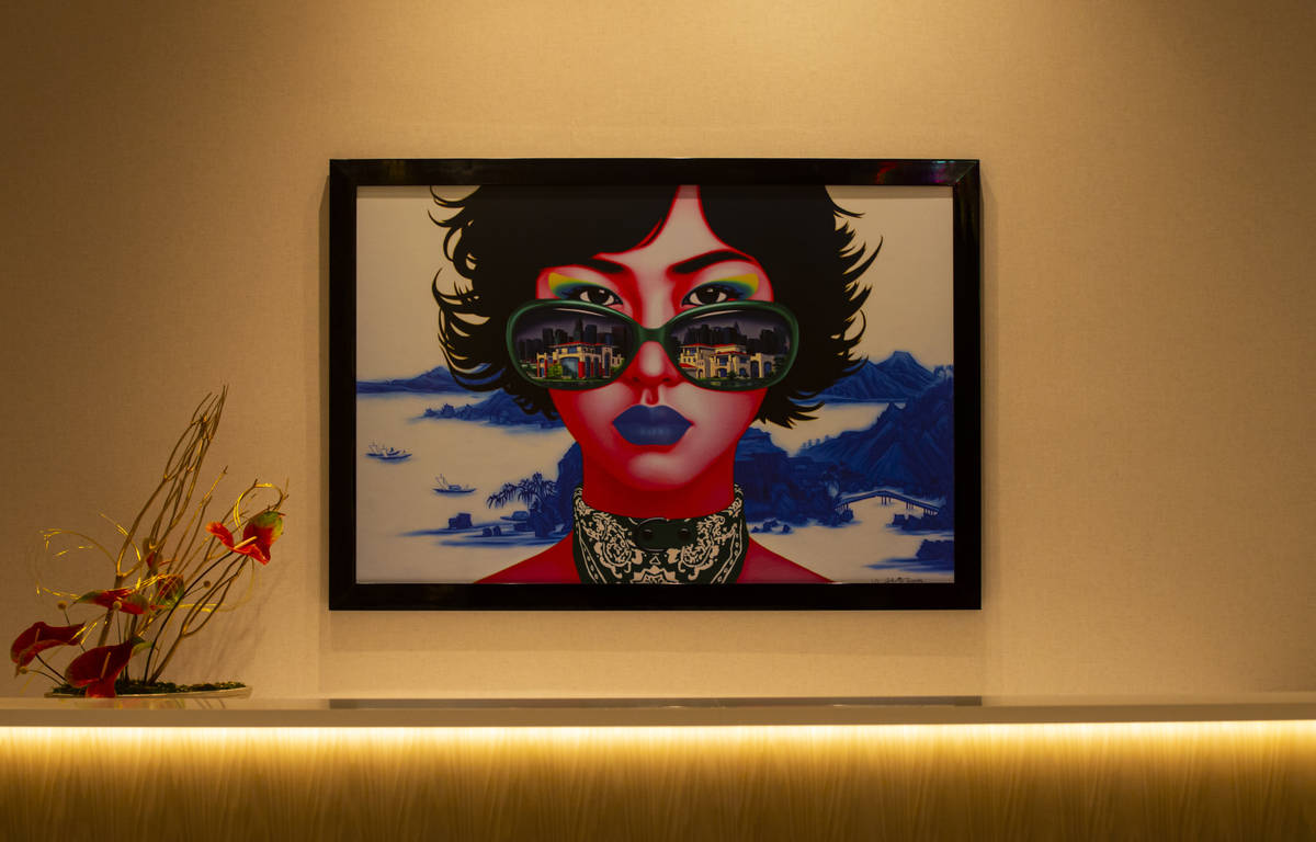 An art piece inside of the Conrad lobby is seen during a tour of Resorts World ahead of its ope ...