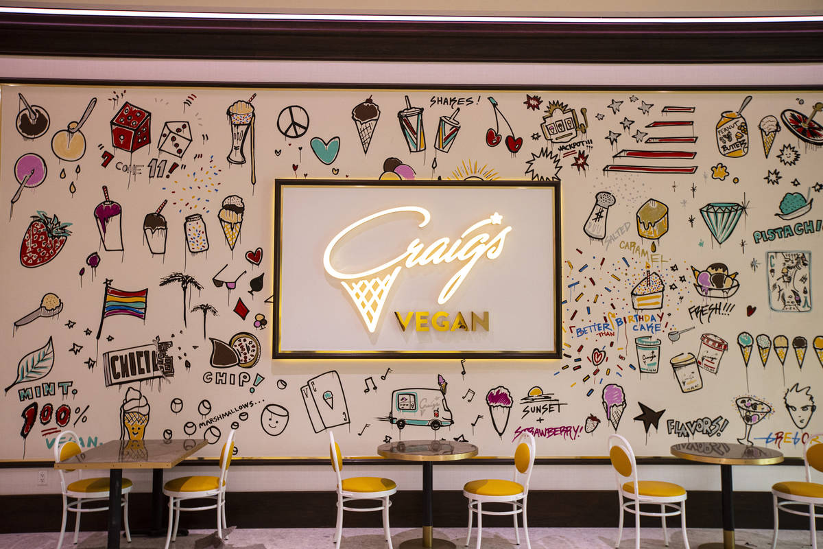 A mural outside of Craig's Vegan ice cream is seen during a tour of Resorts World ahead of its ...
