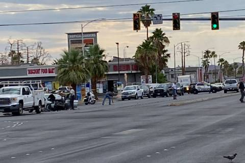 Las Vegas police investigate a crash that happened at Tropicana Avenue and Nellis Boulevard at ...