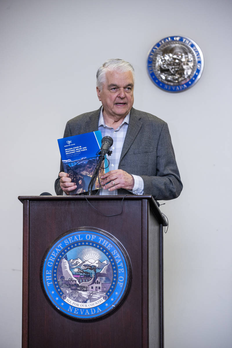 Gov. Steve Sisolak graciously thanks the Nevada COVID-19 Response, Relief and Recovery Task For ...