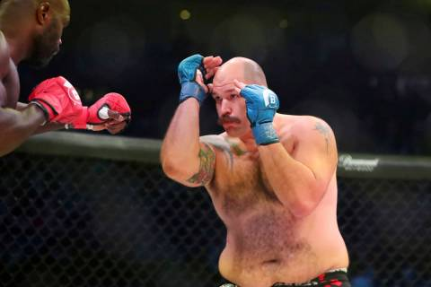 Timothy Johnson is seen during a mixed martial arts bout at Bellator 208, in Uniondale, NY on S ...
