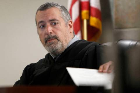 Las Vegas Justice of the Peace Joe Bonaventure is seen during a preliminary hearing for Carlos ...