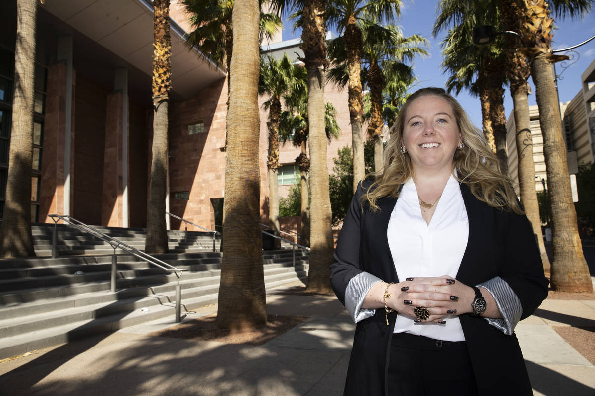 Kaila Leavitt of Leavitt Evictions, poses for a portrait at the Regional Justice Center in Las ...