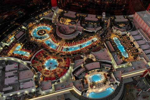 An aerial photo of the pool area at Resorts World Las Vegas on the former site of the Stardust ...