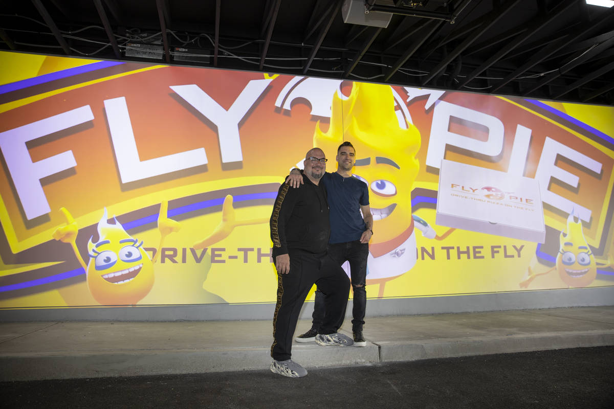 Scott Godino Jr., left, and Anthony Zuiker, co-owners of Fly Pie pizza drive-thru, at the inter ...