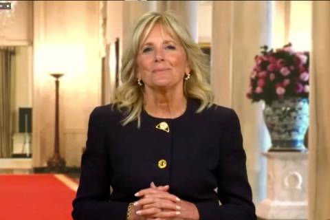 First lady Dr. Jill Biden joined a virtual family trivia night hosted by Tyler Robinson Foundat ...