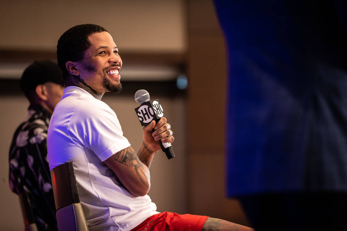 Gervonta Davis speaks at a press conference on June 24, 2021 ahead of its junior welterweight f ...