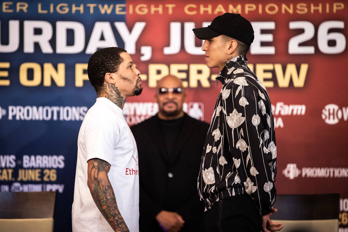 Gervonta Davis faces off with Mario Barrios at their final promotional press conference on June ...