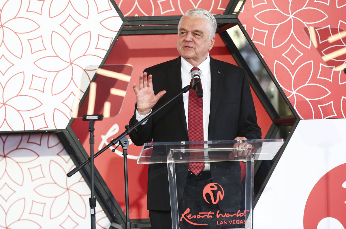 Gov. Steve Sisolak speaks during a ribbon-cutting ceremony to mark the opening of Resorts World ...