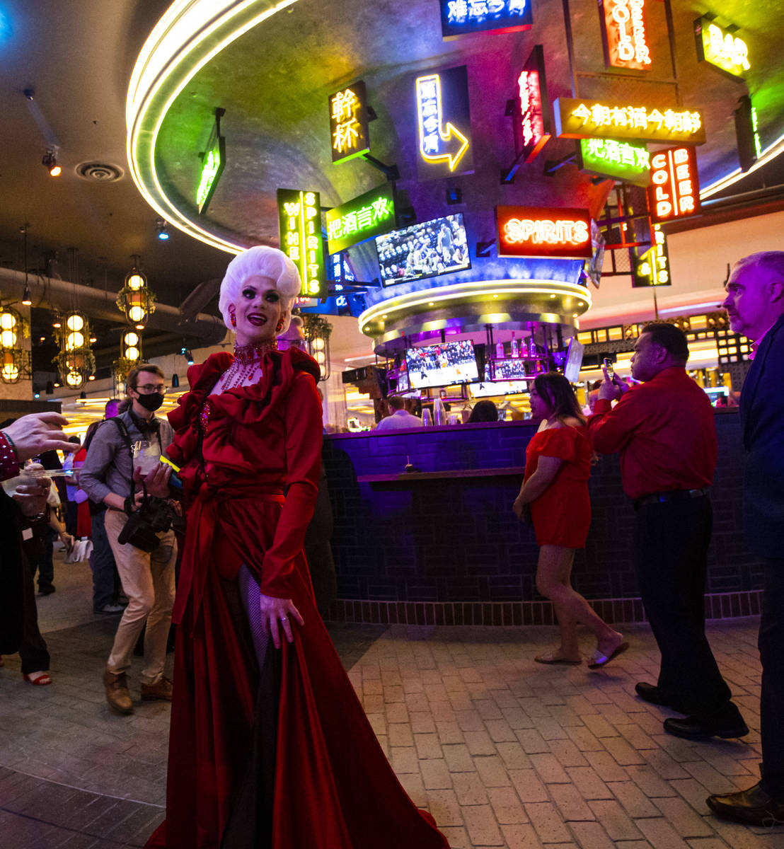 during a ribbon-cutting ceremony to mark the opening of Resorts World Las Vegas on Thursday, Ju ...