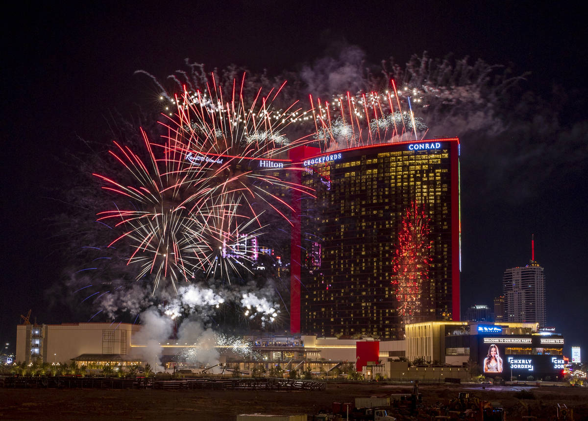 Resorts World Las Vegas grand opening fireworks show from Maggiano's Little Italy at Fashion Sh ...