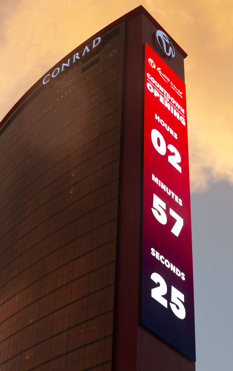 The countdown to opening is on the marquee outside Resorts World Las Vegas on Thursday, June 24 ...