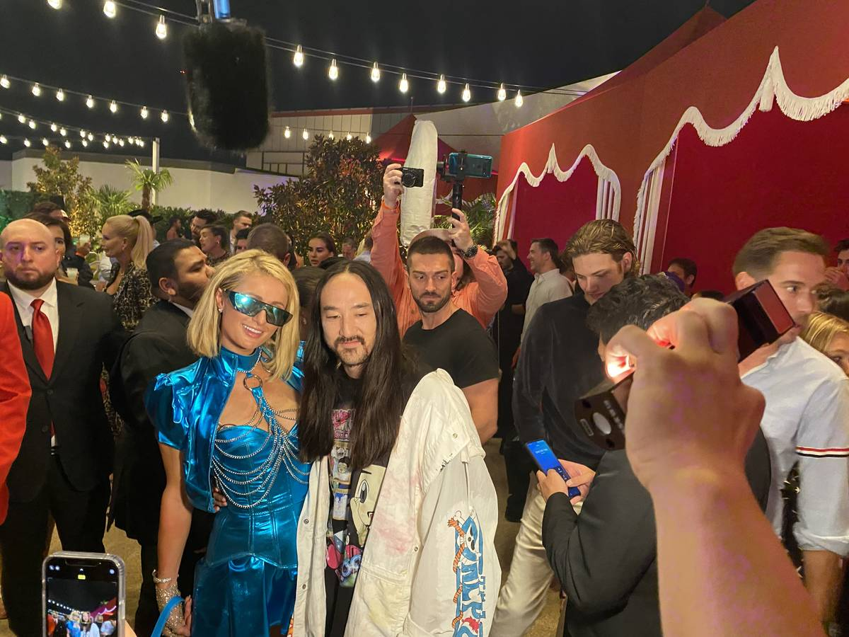 Paris Hilton and Steve Aoki are shown at the opening party of Resorts World Las Vegas on Thursd ...