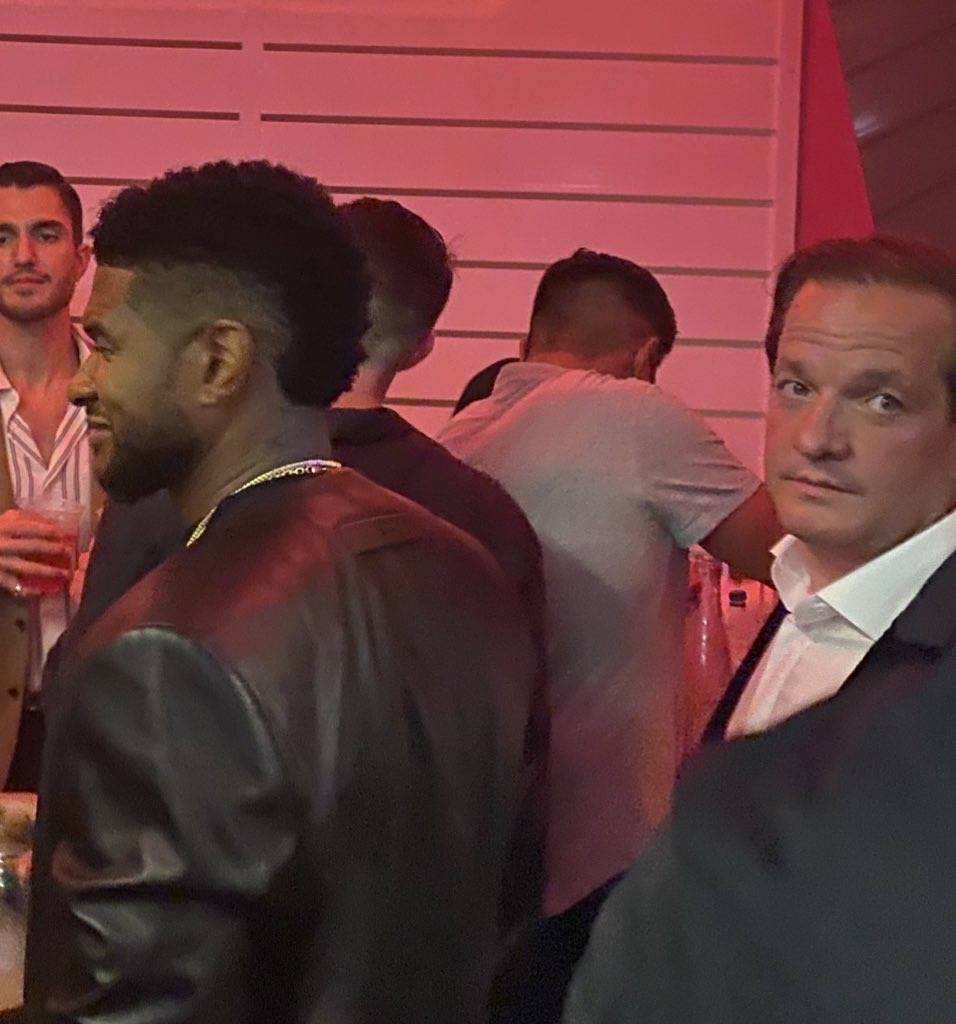 Usher and Jeff Beacher are shown at the opening party of Resorts World Las Vegas on Thursday, J ...