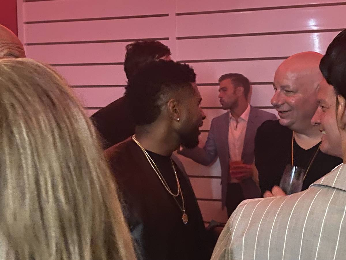 Usher and Jeffrey Ross are shown at the opening party of Resorts World Las Vegas on Thursday, J ...
