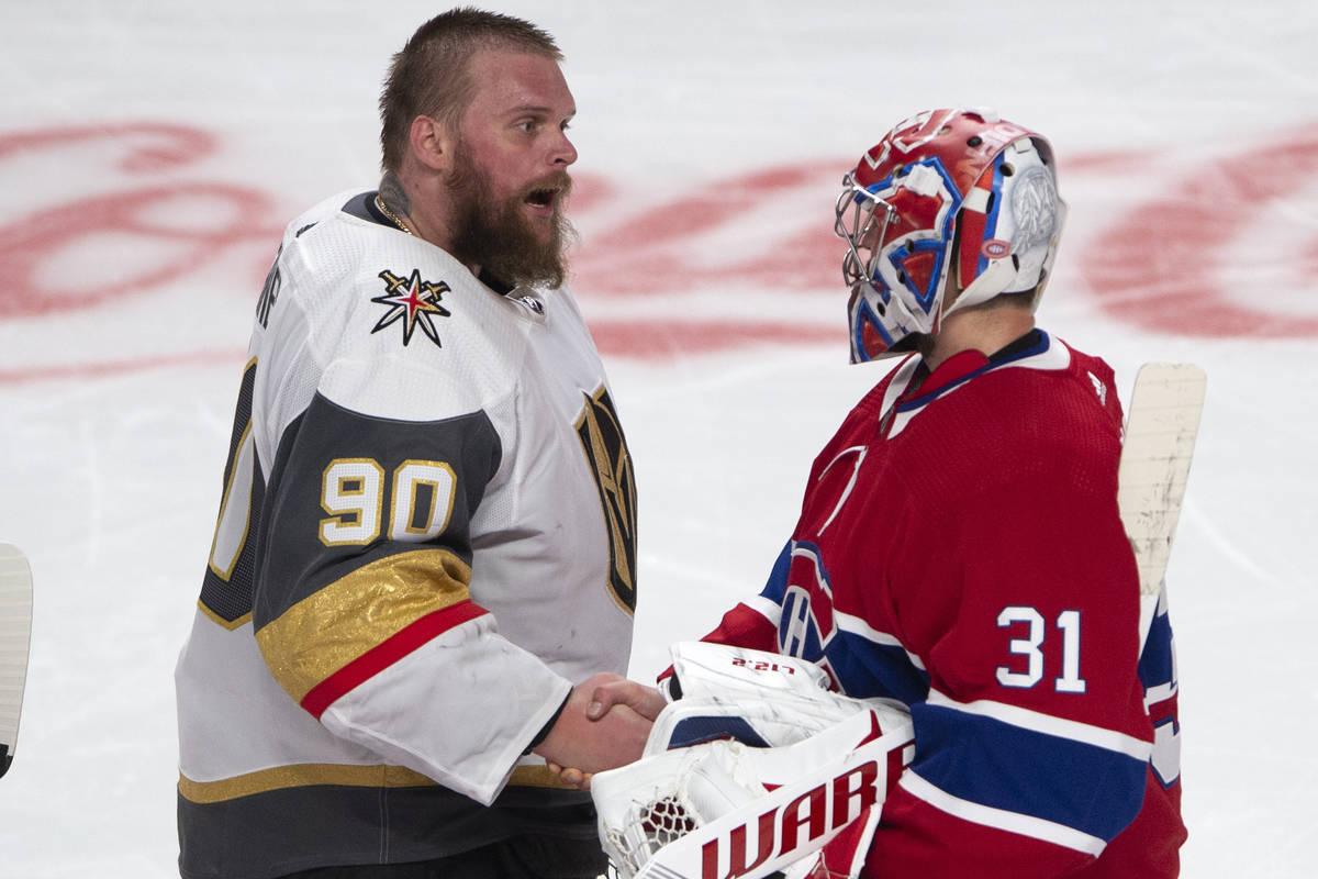 Vegas Golden Knights goaltender Robin Lehner (90) congratulates Montreal Canadiens goaltender C ...