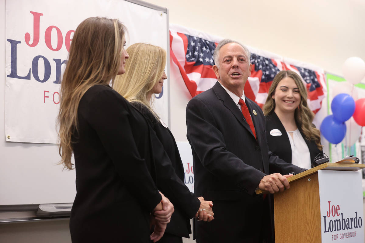 Clark County Sheriff Joe Lombardo announces his candidacy for governor of Nevada, with, from le ...
