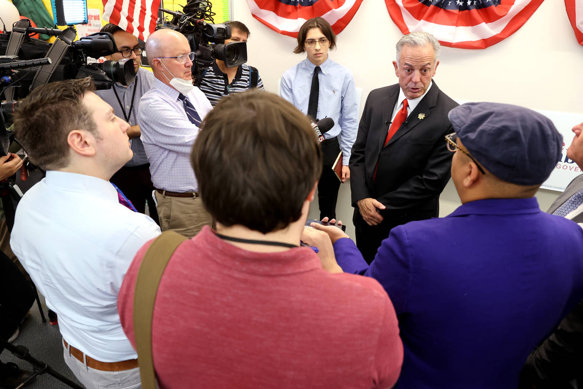 Clark County Sheriff Joe Lombardo talks to the news media after announcing his candidacy for go ...