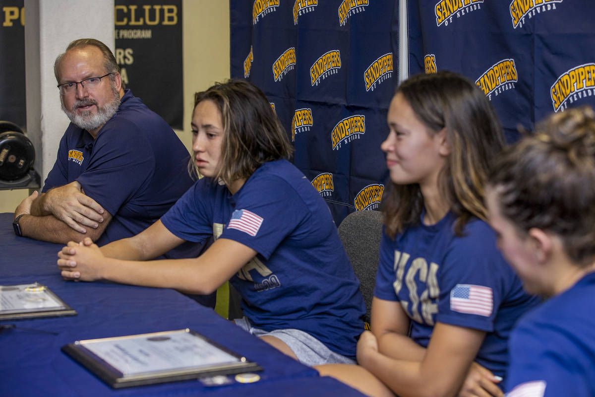 (From left) Sandpipers of Nevada coach Ron Aitken shares a training regime during a press confe ...