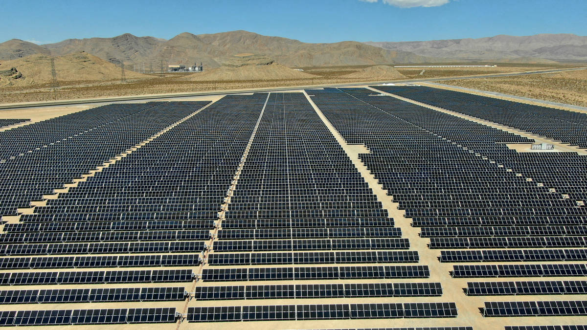 MGM's 100 megawatt Mega Solar Array, located on 640 acres north of Las Vegas, will furni ...