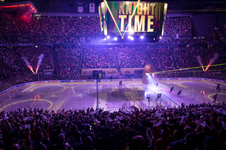 The crowd goes wild for the Golden Knights as they take the ice before Game 5 of an NHL hockey ...