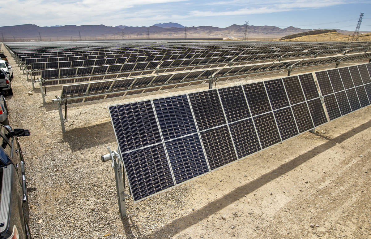 Some of the solar panels from MGMÕs Mega Solar Array located on 640 acres in the desert wh ...