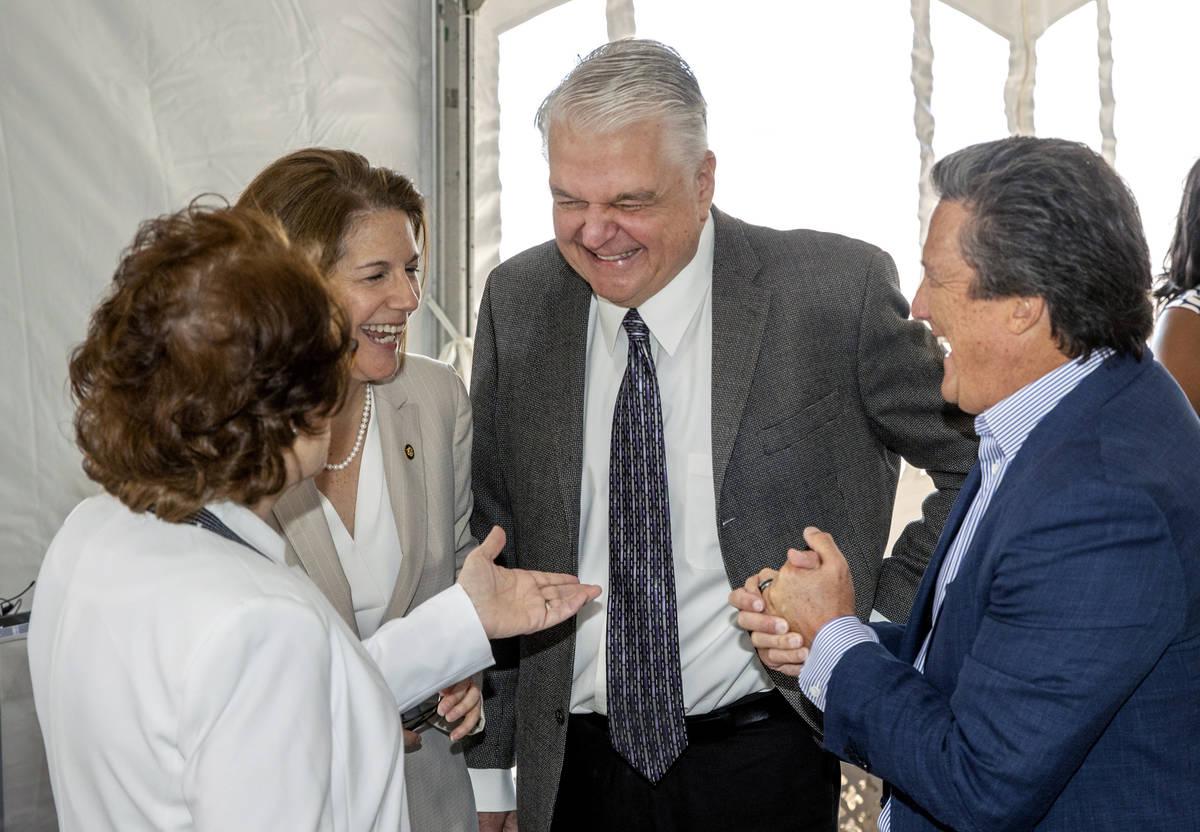 (From left) Sens. Jacky Rosen and Catherine Cortez Masto join Gov. Steve Sisolak and Bill Hornb ...