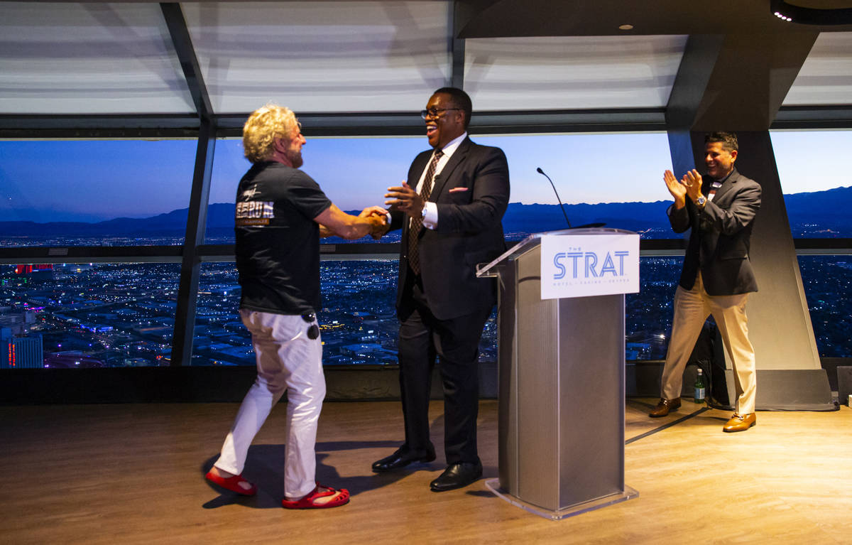 Sammy Hagar, left, is presented with a proclamation from Las Vegas City Councilman Cedric Crear ...
