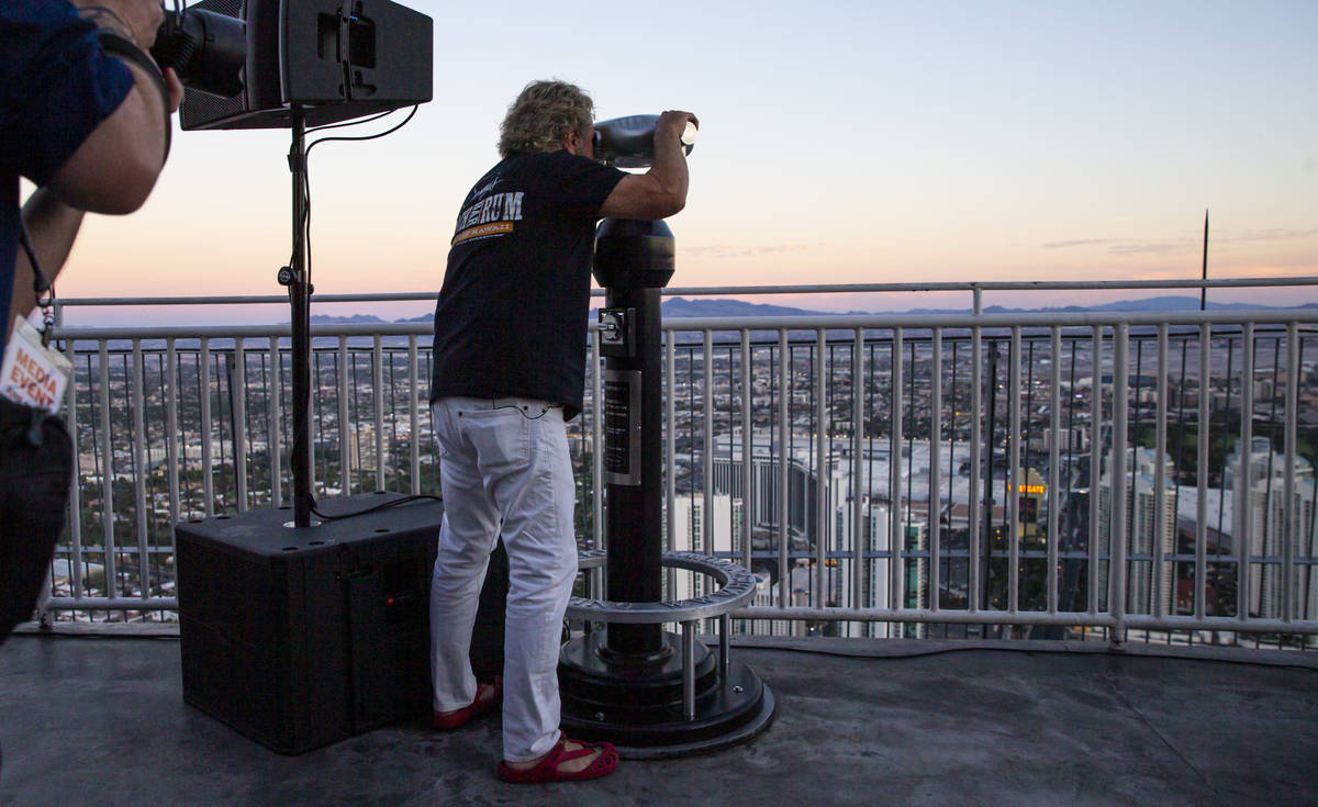 Sammy Hagar looks out over the Las Vegas Strip from the top of The Strat in Las Vegas on Monday ...