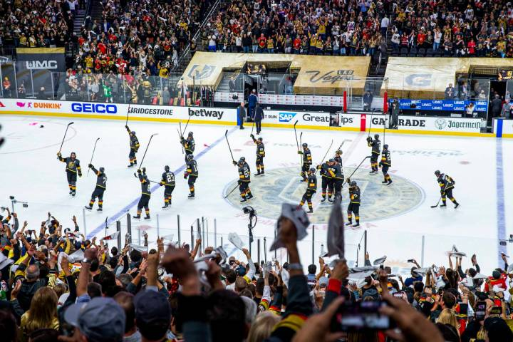 Golden Knights thank the fans after defeating the Colorado Avalanche 6-3 following the third pe ...