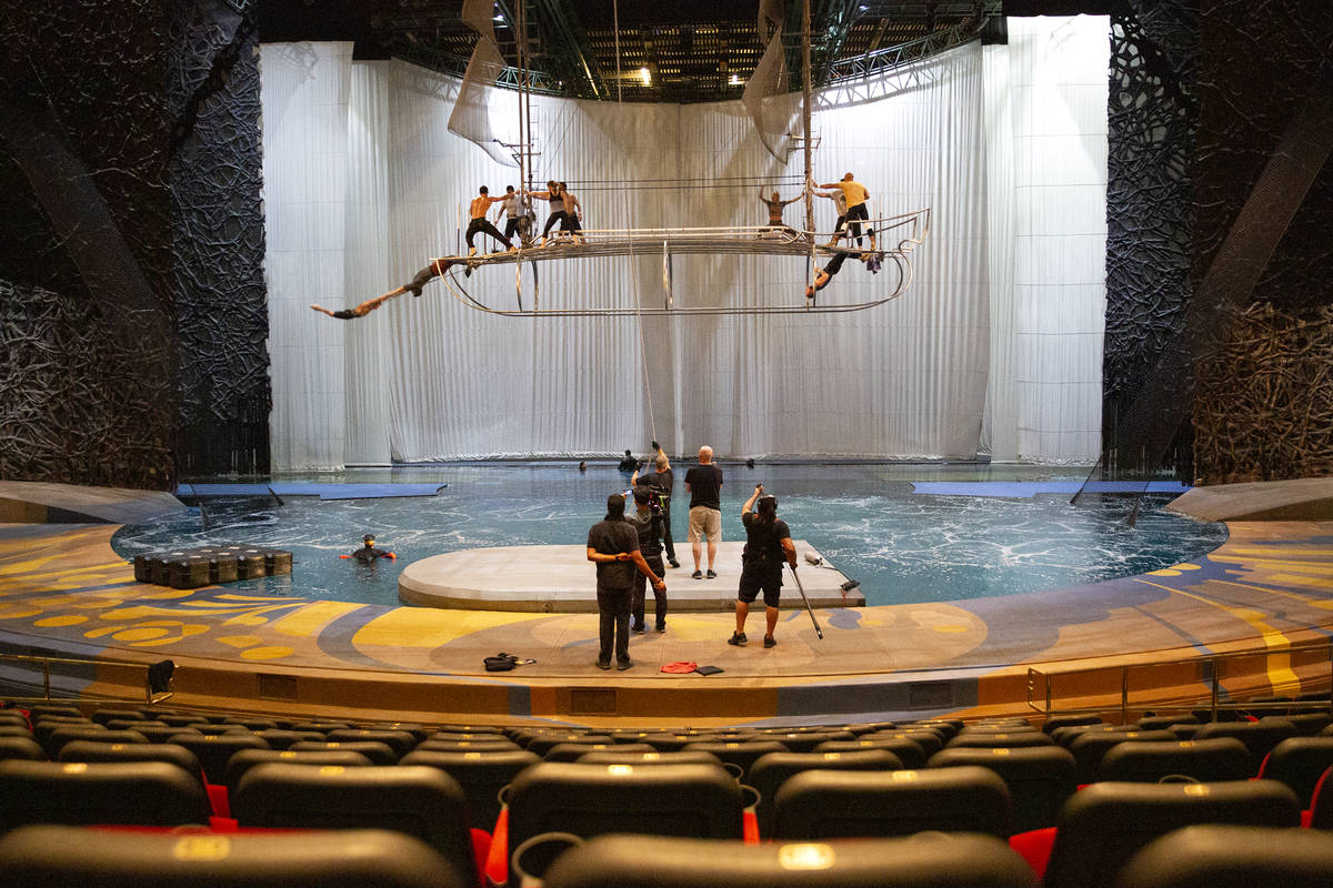 """A rehearsal for """"O"""" in O Theatre Showroom at Bellagio on Wednesday, June 30, 2021, in ..."""