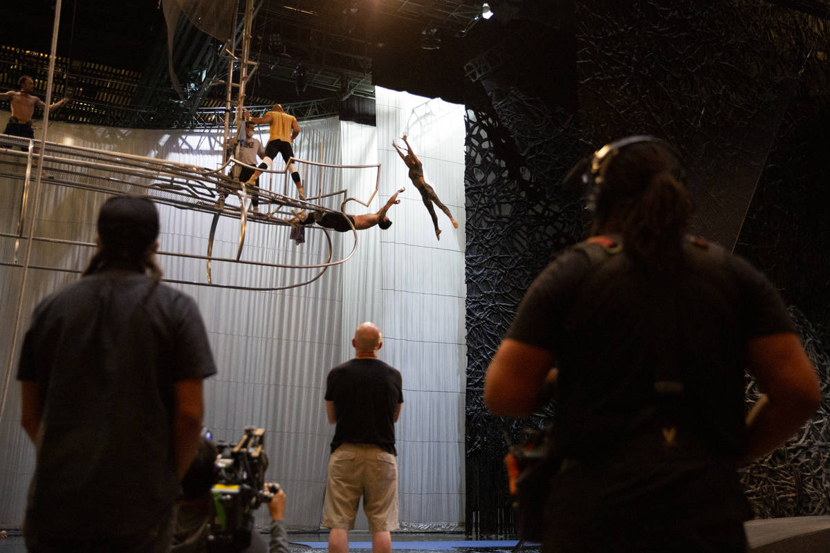 """A documentary crew films a rehearsal for """"O"""" in O Theatre Showroom at Bellagio on Wed ..."""