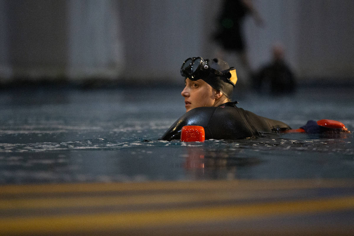 """A diver participates in a rehearsal for """"O"""" in O Theatre Showroom at Bellagio on Wedn ..."""
