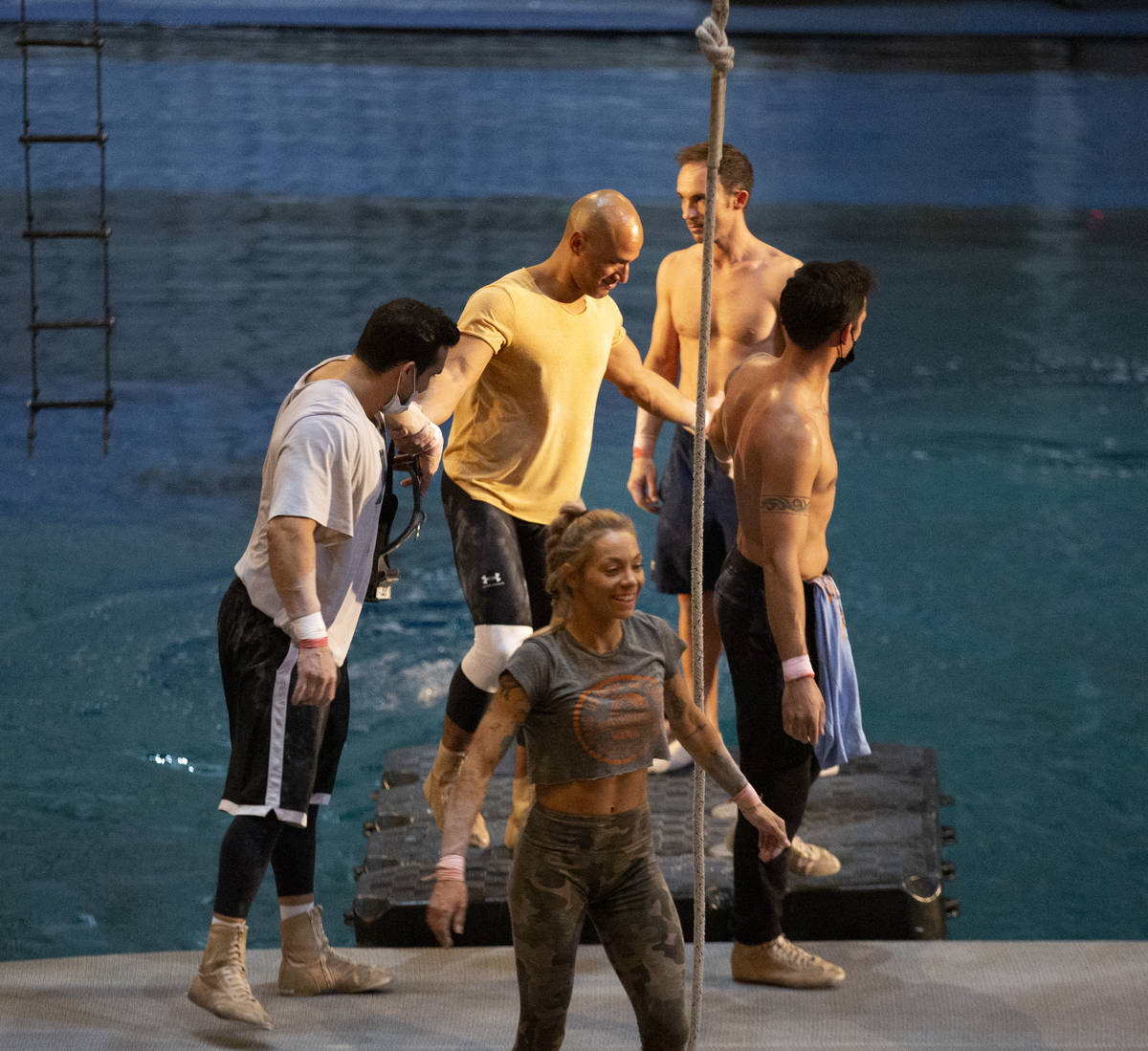 """Acrobats come down from the aerial boat after a rehearsal for """"O"""" in O Theatre Showro ..."""