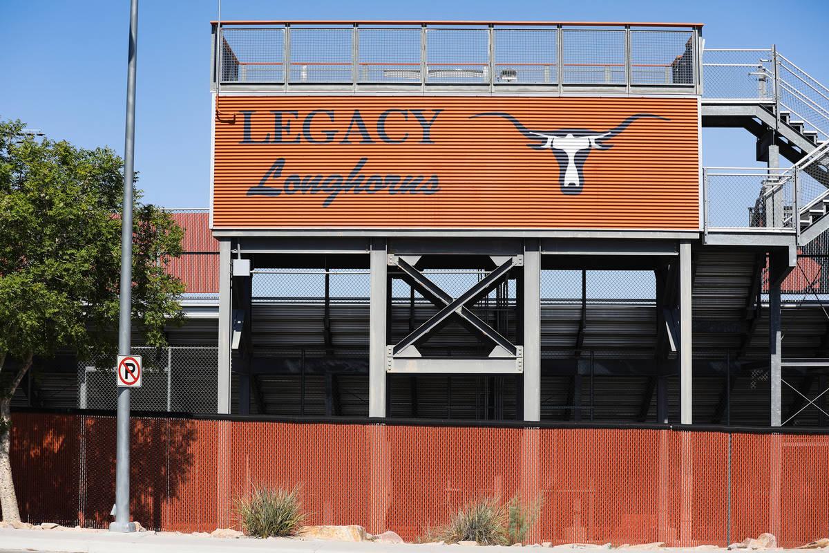 The football field bleachers at Legacy High School in North Las Vegas Wednesday, June 30, 2021. ...