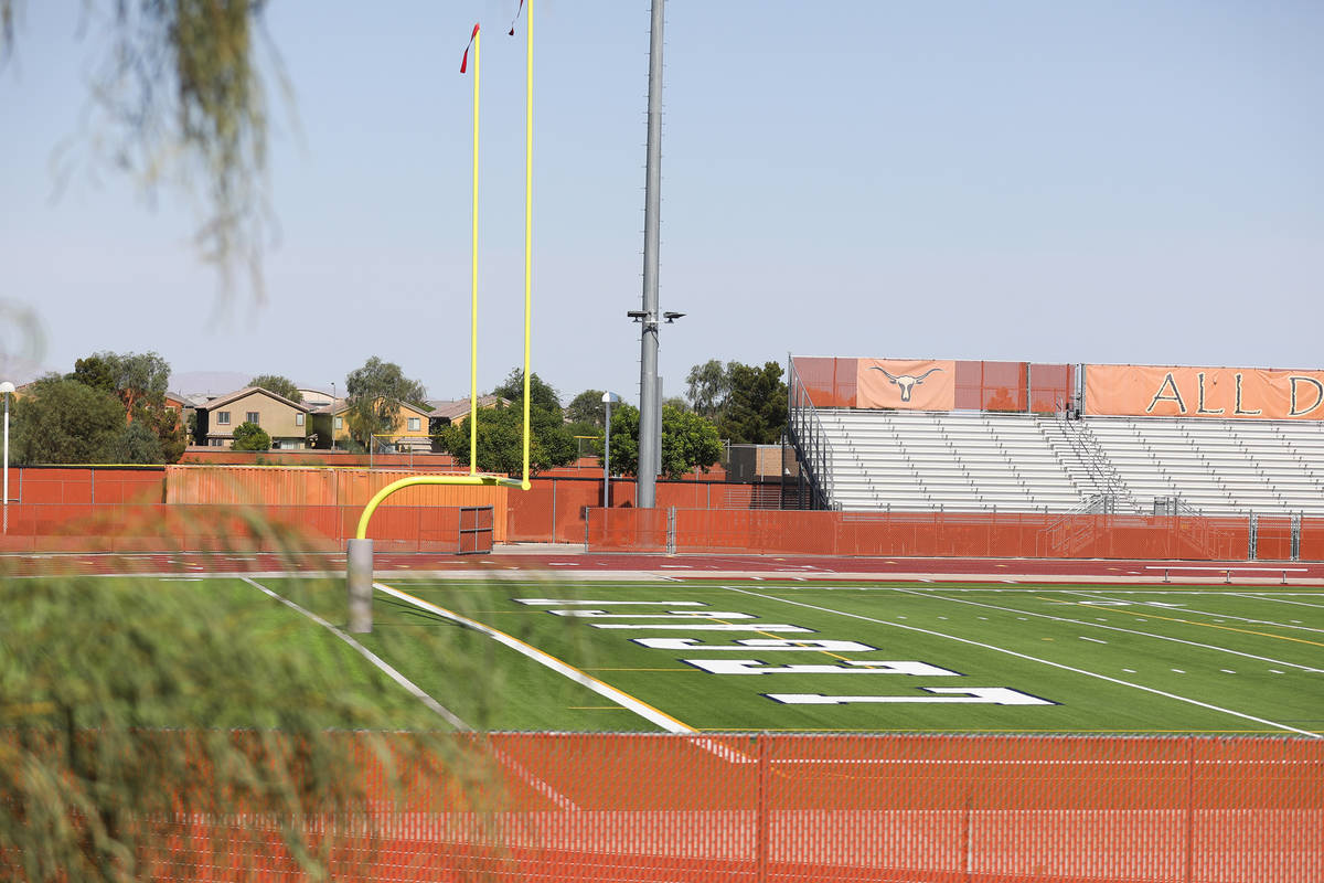 The football field at Legacy High School in North Las Vegas Wednesday, June 30, 2021. (Rachel A ...
