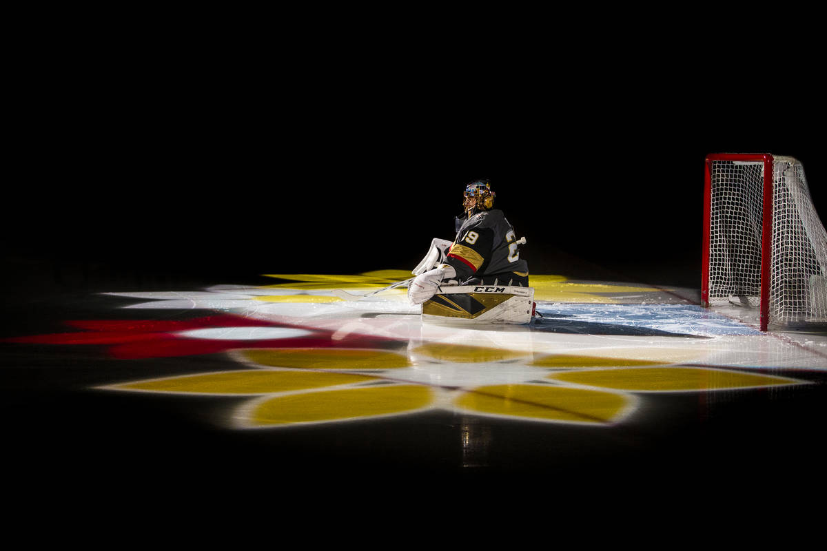 Golden Knights goaltender Marc-Andre Fleury (29) is announced before the start of an NHL hockey ...