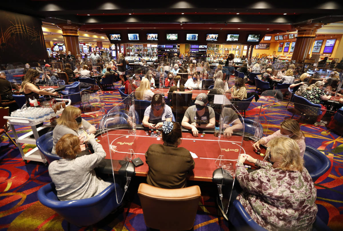 Women play in $175 No-Limit Hold'em Ladies tournament during 2021 Nevada State Ladies Poker Cha ...