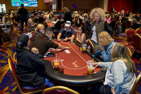 Players compete in the $350 buy-in Ladies International Poker Series (LIPS) championship within ...