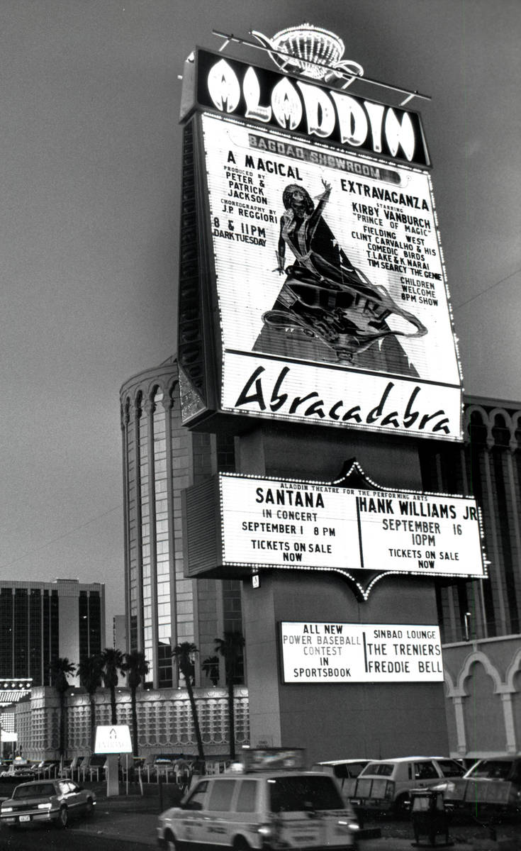 Aladdin Hotel and Casino pictured on Aug. 28, 1989, in Las Vegas. (Review-Journal file)