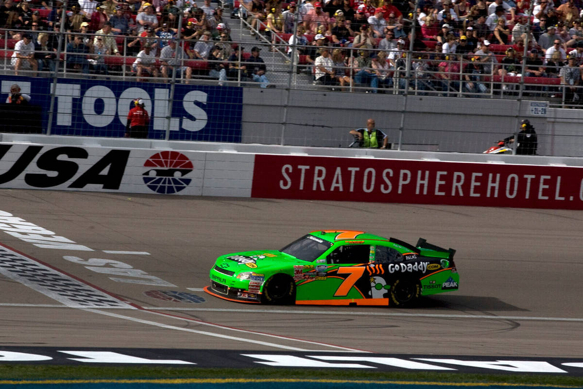 Danica Patrick drives past the start-finish line during the NASCAR Nationwide Sam's Town 300 on ...