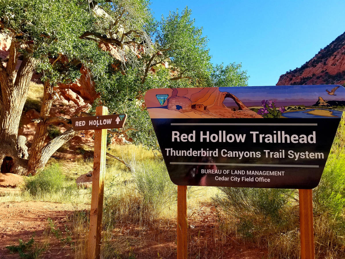 The Red Hollow trailhead sign marks an entry point to Cedar City's Thunderbird Canyons T ...